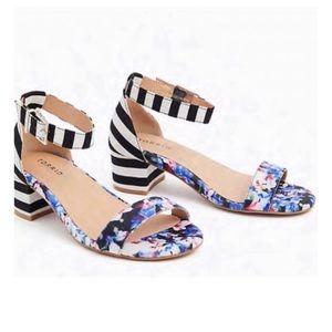 Torrid 💼 Stripe & floral ankle strap heel sandal